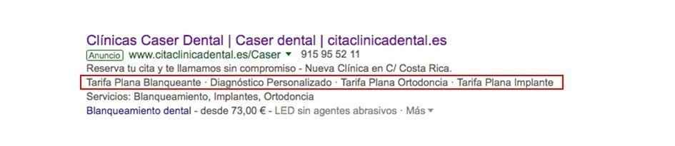 Extensiones texto destacado adwords